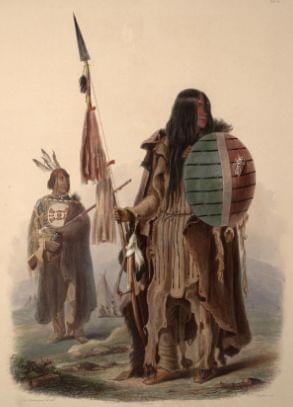 A painting of Assiniboine warriors