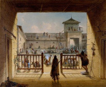 The interior of Fort Laramie during the 1800s